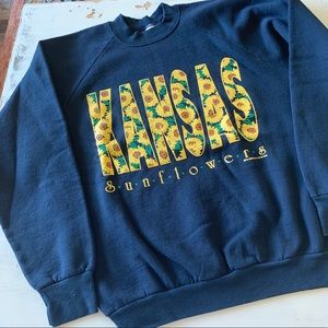 Kansas sunflowers crewneck sweatshirt vintage